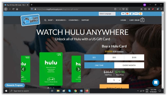 Hulu free trial with Mygiftcardsupply
